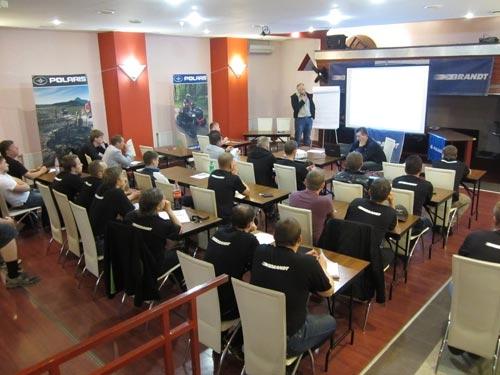 Более 30 человек из 30 компаний занимающихся мототехникой Polaris приехали в Петербург для участия в семинаре.
